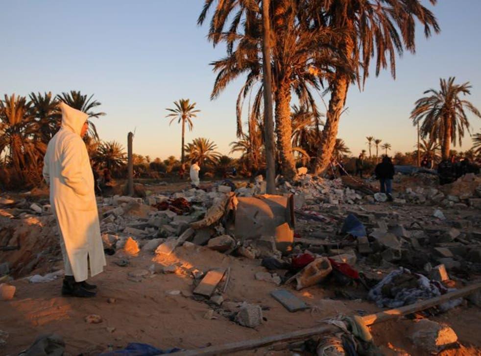The scene after a US air strike on a jihadist training camp in Sabratha, Libya, in February