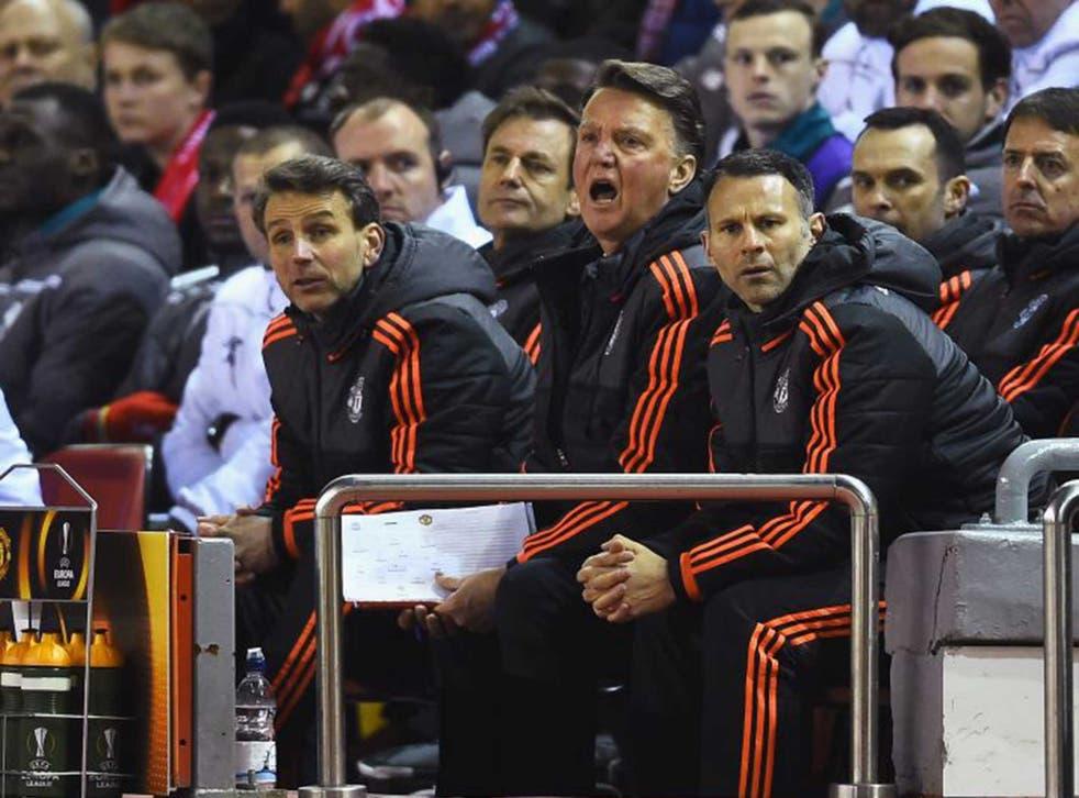 Louis van Gaal alongside assistant manager Ryan Giggs