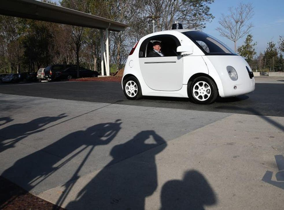 Google chairman Eric Schmidt in one of the technology giant's  self-driving cars in California