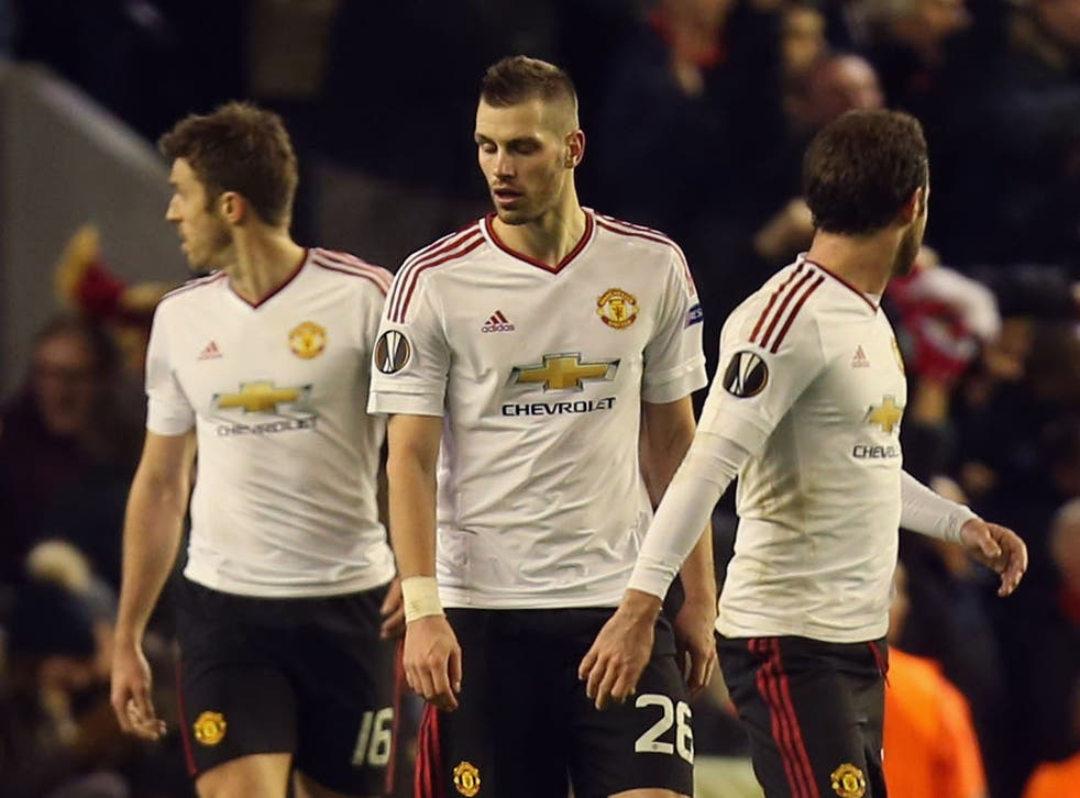 Manchester United's players during the defeat to Liverpool