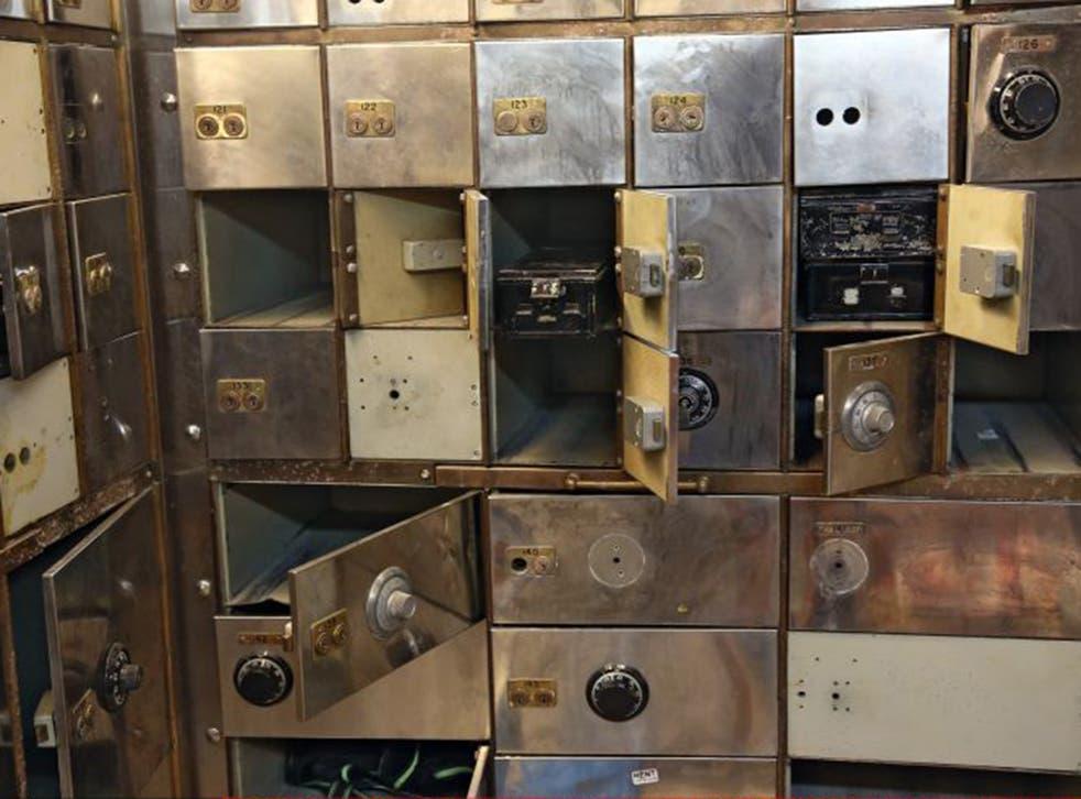 Smashed safe deposit boxes in the underground vault of the Hatton Garden Safe Deposit Company. Around £200 million was stolen during the burglary