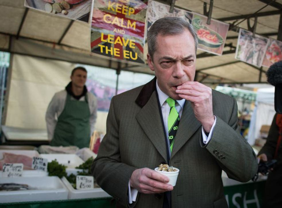 Ukip leader Nigel Farage campaigning for a 'Brexit' in Essex