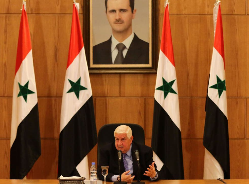 Syria's Foreign Minister Walid al-Moualem at Saturday's press conference