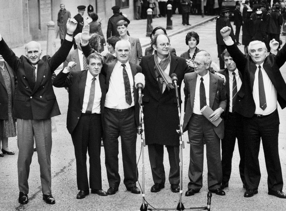 The Birmingham Six, with Chris Mullin MP, centre, in 1991; Paddy Hill is second from left