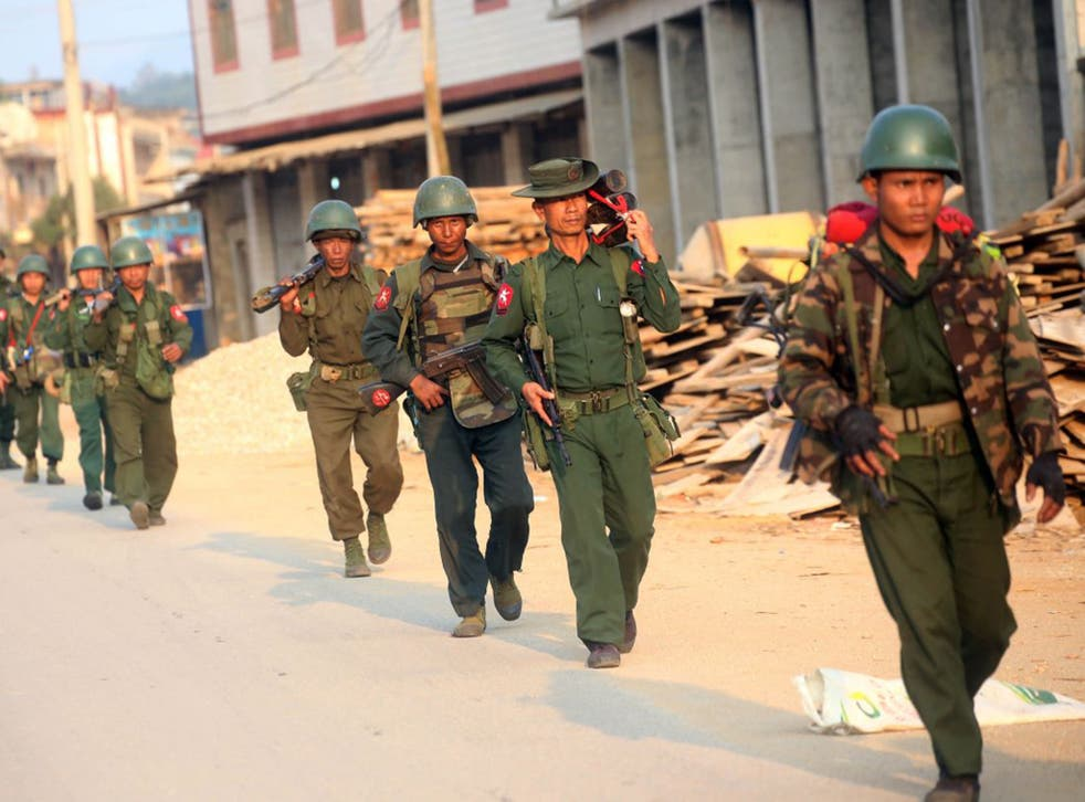 Soldiers in Burma's army, the Tatmadaw, in Shan State