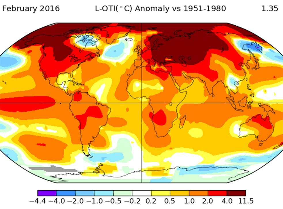 Global surface temperatures across land and ocean in February were 1.35°C warmer than the average temperature for that month, measured from the 1951-1980 baseline.
