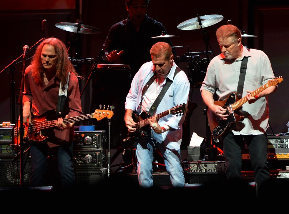Timothy B Schmit, the late Glenn Frey and Don Henley performing in Nasvhille