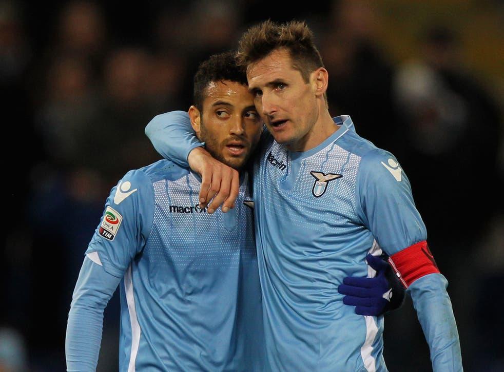 Lazio attacking midfielder Felipe Anderson with Miroslav Klose