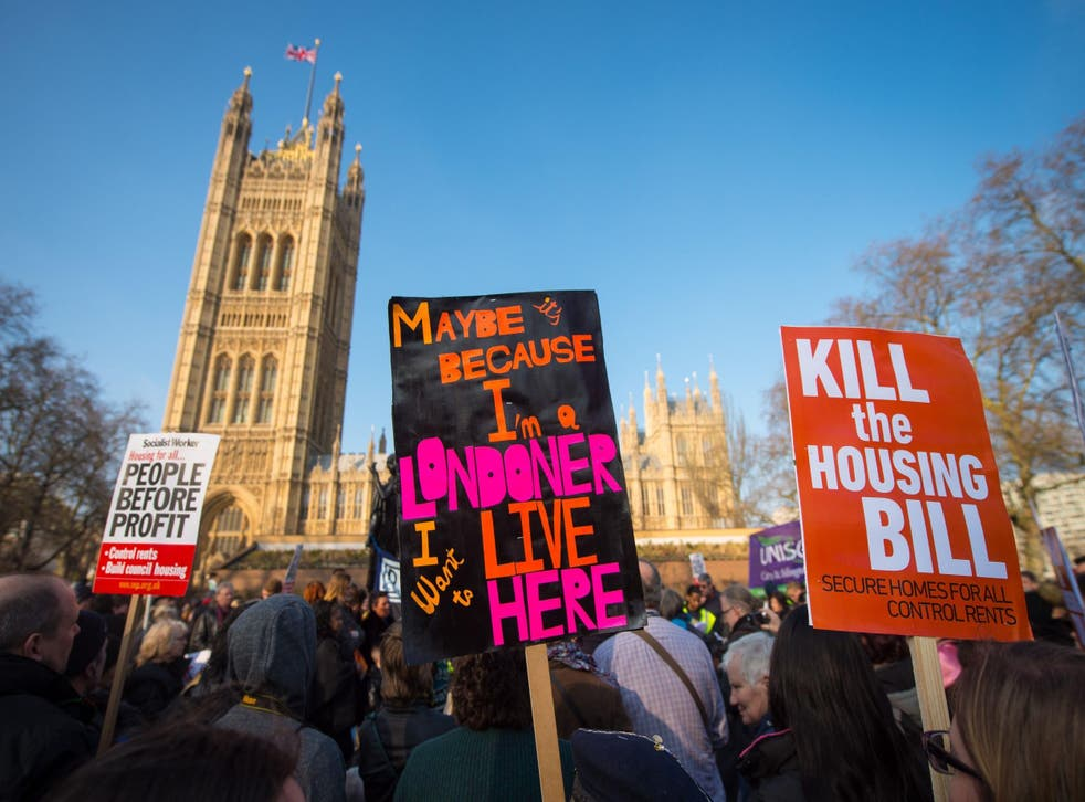 Demonstrators against the Housing Bill in Westminster