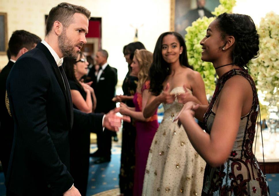 Malia And Sasha Obama Meet Ryan Reynolds As They Attend Their First