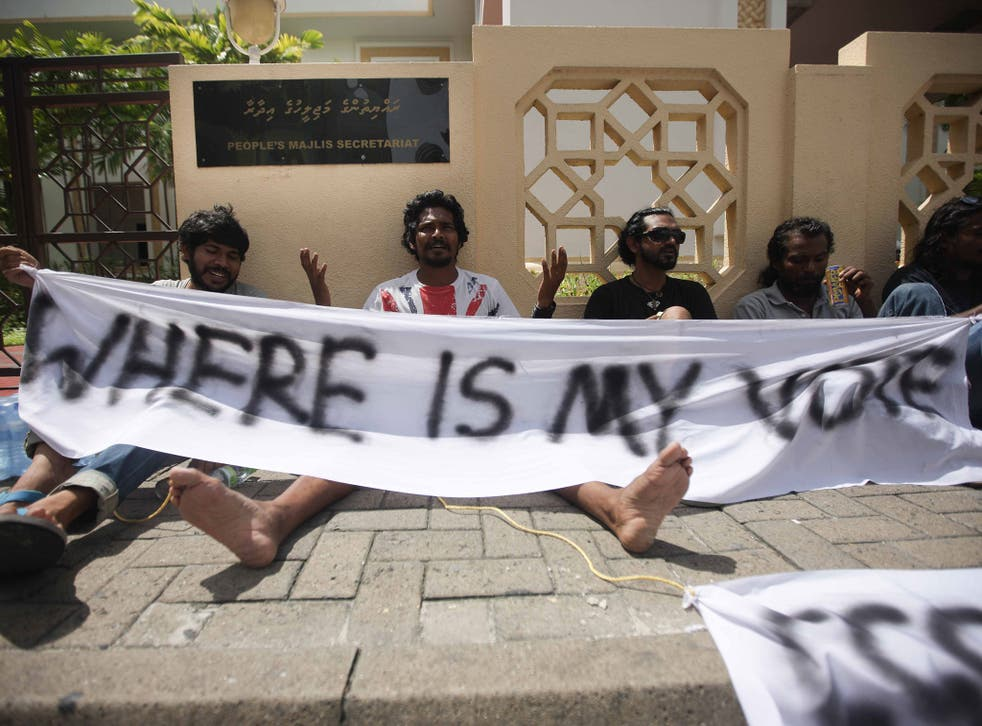 Protestors demonstrate in the Maldives – evidence, the Government says, of its openness and willingness to address issues of democracy and human rights