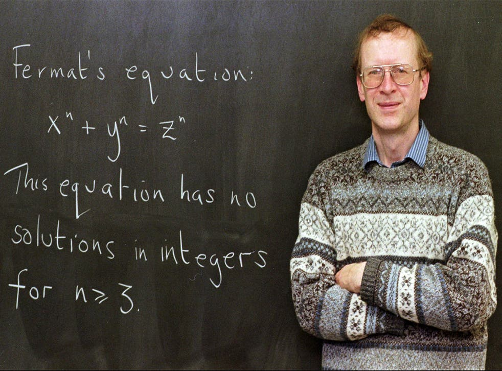 """Sir Andrew John Wiles poses next to """"Fermat's Last Theorem"""" in 1998"""