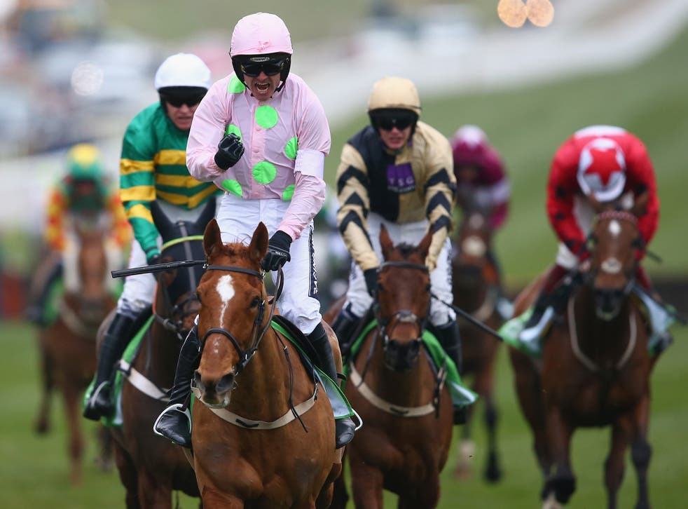 Ruby Walsh celebrates after riding Annie Power to victory at Cheltenham