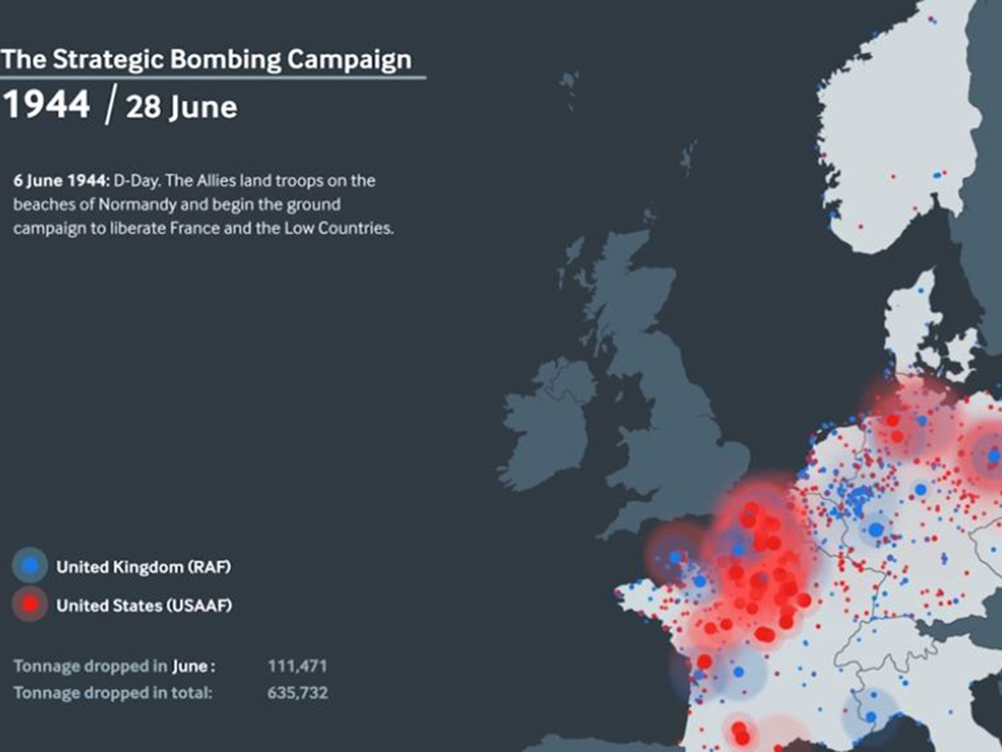 WWII Animation Shows True Scale Of Air Bombing Campaign Carried - Map of countries us is bombing