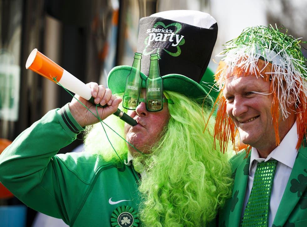 Revellers celebrate St Patrick's Day in London
