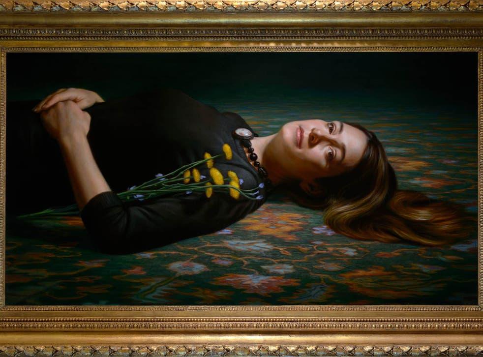 "Gillian Flynn, whose painting ""obviously drew on Ophelia by [Sir John Everett] Millais"" said artist Ralph Heimans"