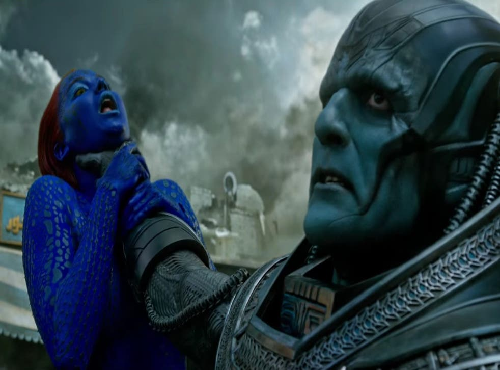 Oscar Isaac and Jennifer Lawrence in Bryan Singer's X-Men: Apocalpyse