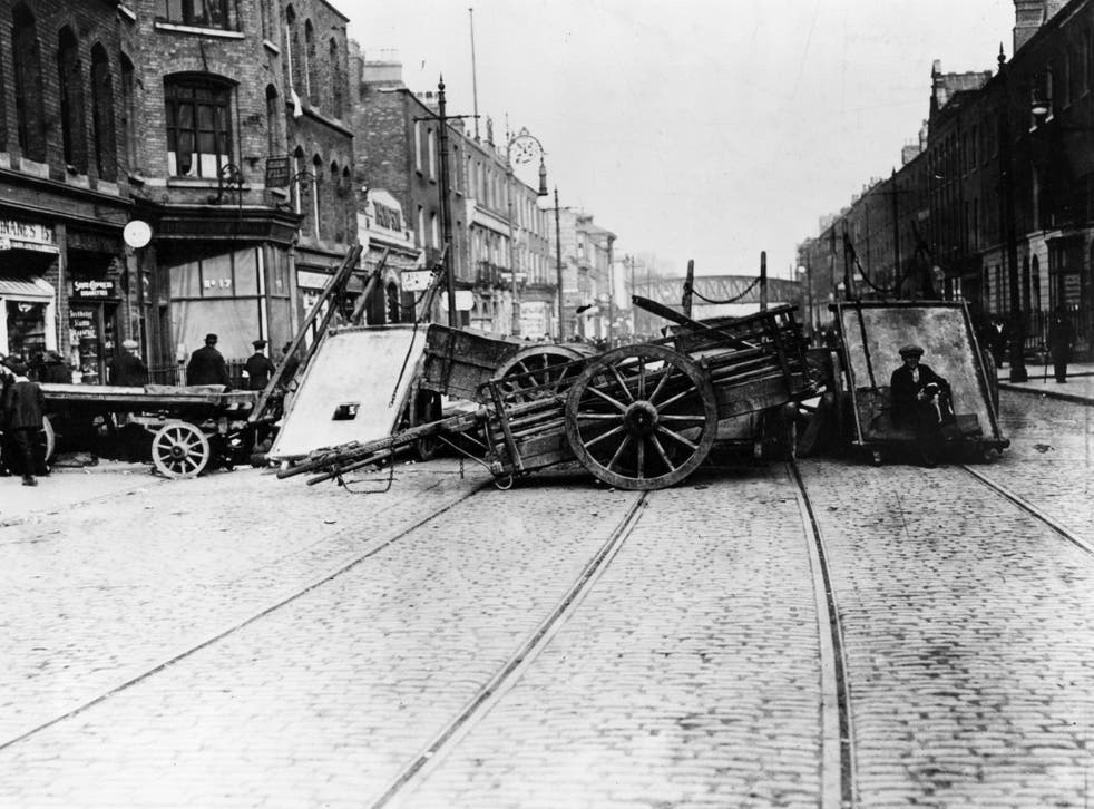 A barricade in Great Brunswick Street, Dublin, during the Easter Rising, 1916