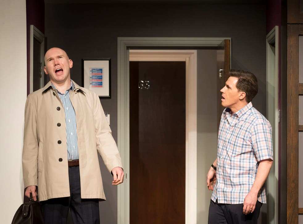 The Painkiller (Kenneth Branagh Theatre Company) Alex Macqueen (Dent), Rob Brydon (Dudley).