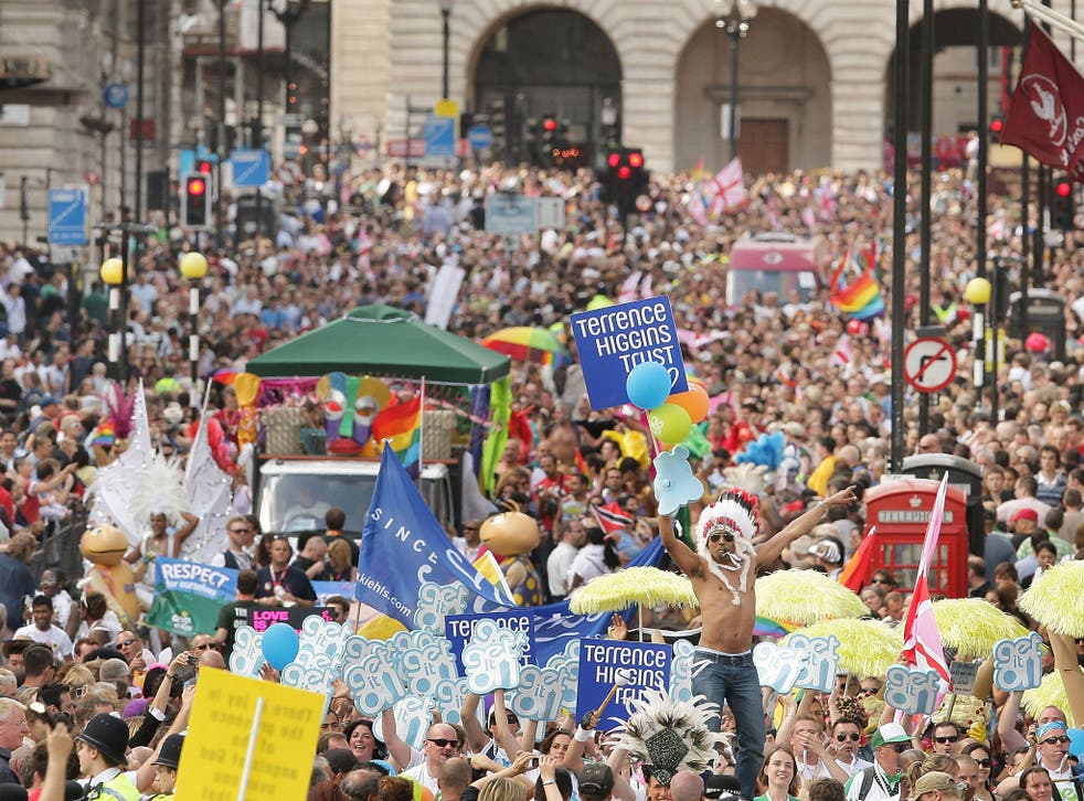The Gay Pride parade passes down London's Regent Street in 2008