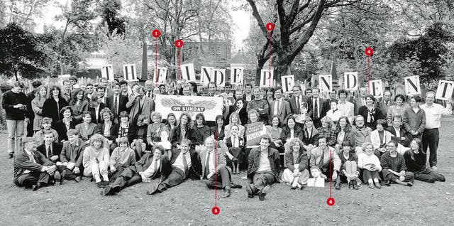The staff of the Independent on Sunday pictured in 1990
