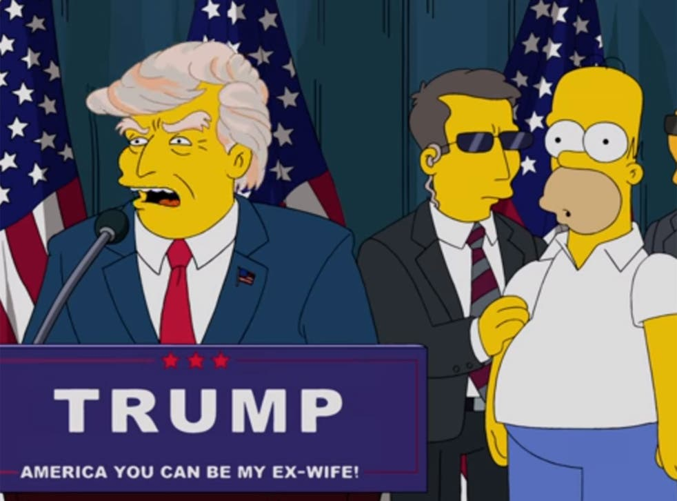 An episode of The Simpsons broadcast in 2000 featured a future 'vision of America going insane' with Donald Trump as president