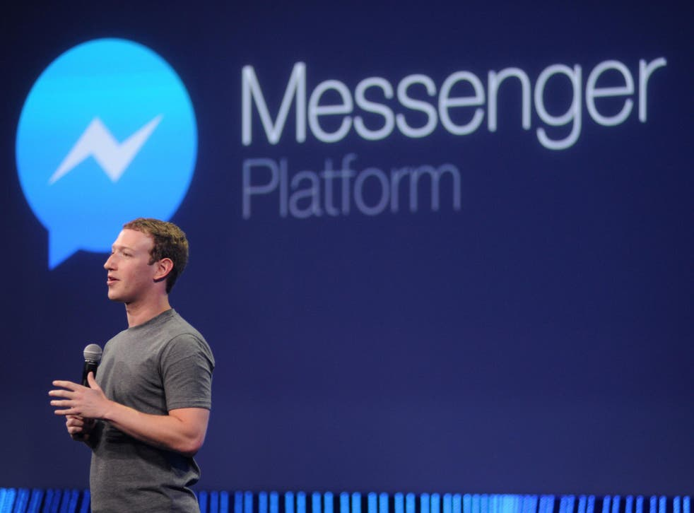 Facebook co-founder Mark Zuckerberg speaks about Messenger at the F8 conference in 2015