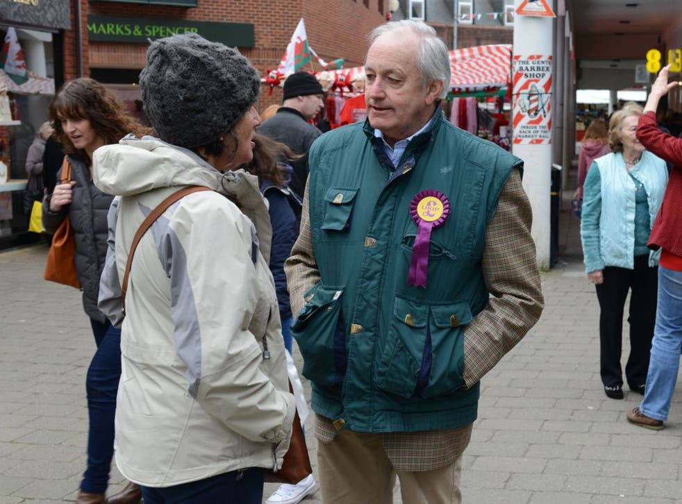 Neil Hamilton talks up his Welsh credentials with voters in Camarthen
