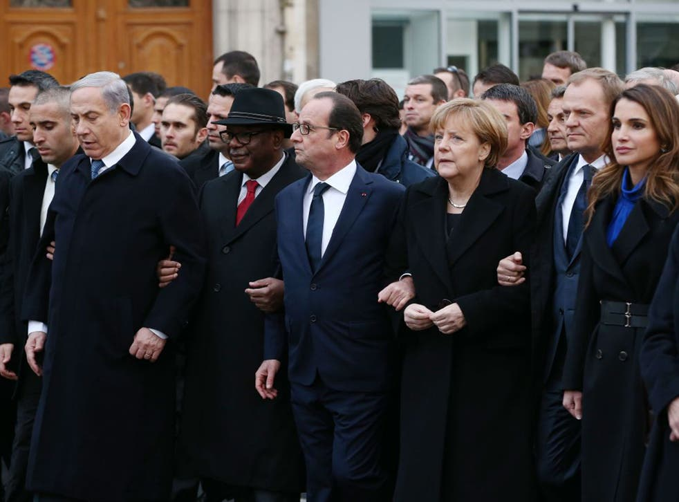 Israeli Prime Minister Benjamin Netanyahu, French President Francois Hollande, German Chancellor Angela Merkel and Queen Rania of Jordan attend a mass unity rally following the Paris terrorist attacks in November 2015