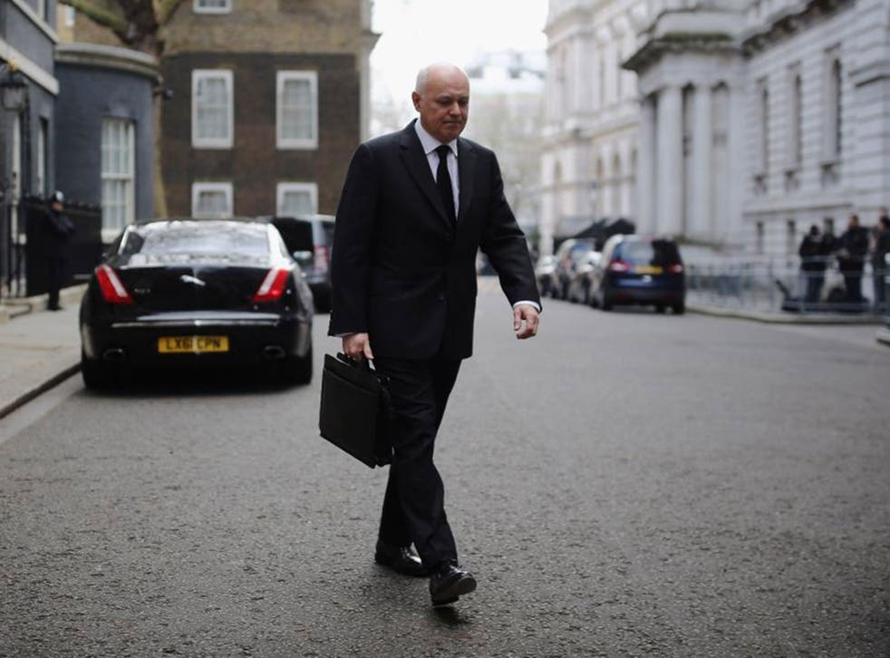 The now former Secretary of State for Work and Pensions Iain Duncan Smith leaves Downing Street after a Cabinet Meeting on March 16, 2016 in London, England