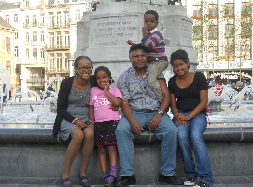 Andy Tsege with his partner, Yemi Hailemariam, and their three children