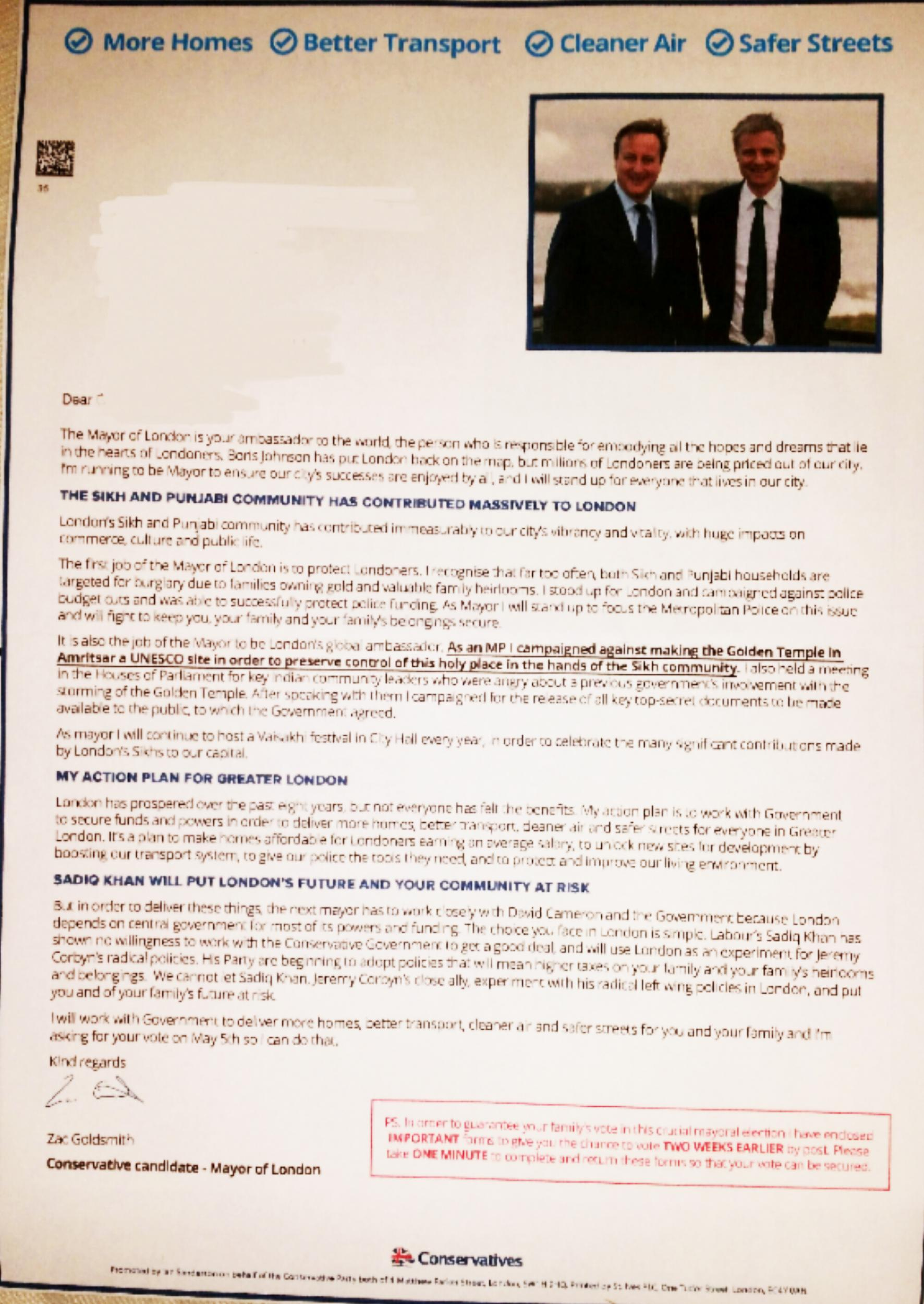 The racial profiling in Zac Goldsmith's mayoral leaflets