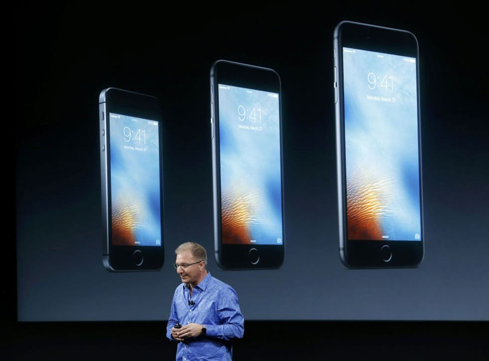 Apple Vice President Greg Joswiak introduces the iPhone SE at the Apple headquarters in Cupertino, California
