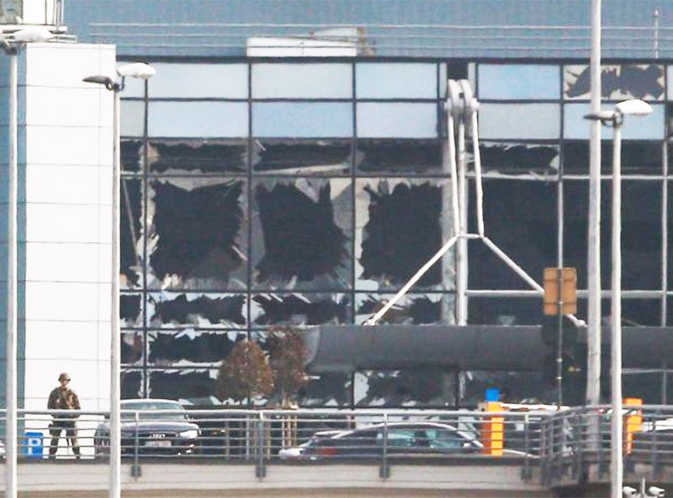 Destroyed windows at the terminal building following the terrorist attack at Brussels Airport in Zaventem