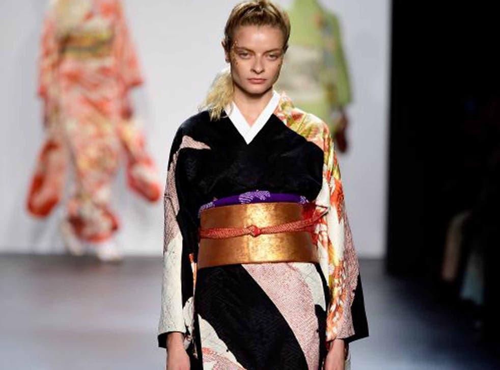 Sleeves on the line: a model walks the runway wearing a Hiromi Asai design last month