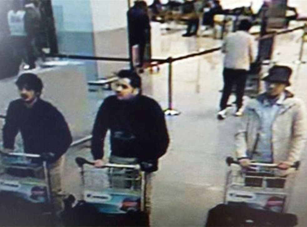 Airport CCTV shows the three suspects; Faycal Cheffou is on the right
