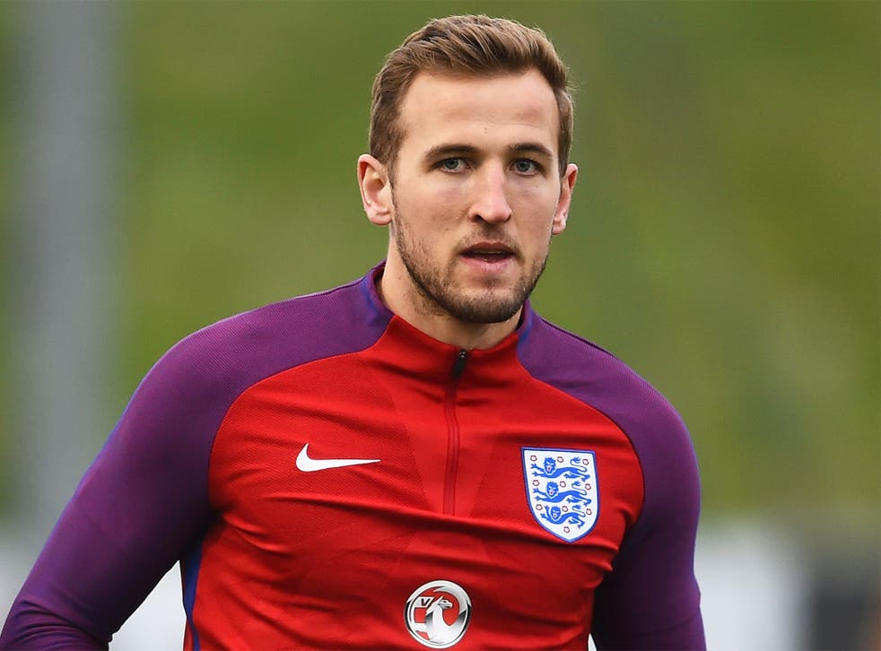 Harry Kane during training at St Georges Park on Tuesday