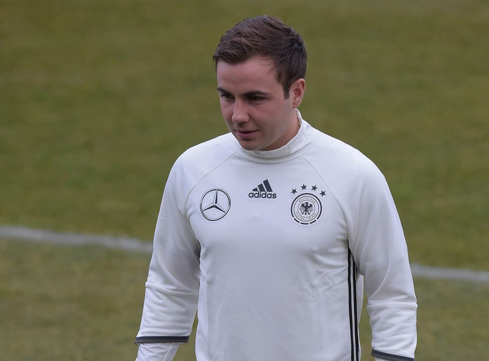 Mario Gotze during a training session with Germany