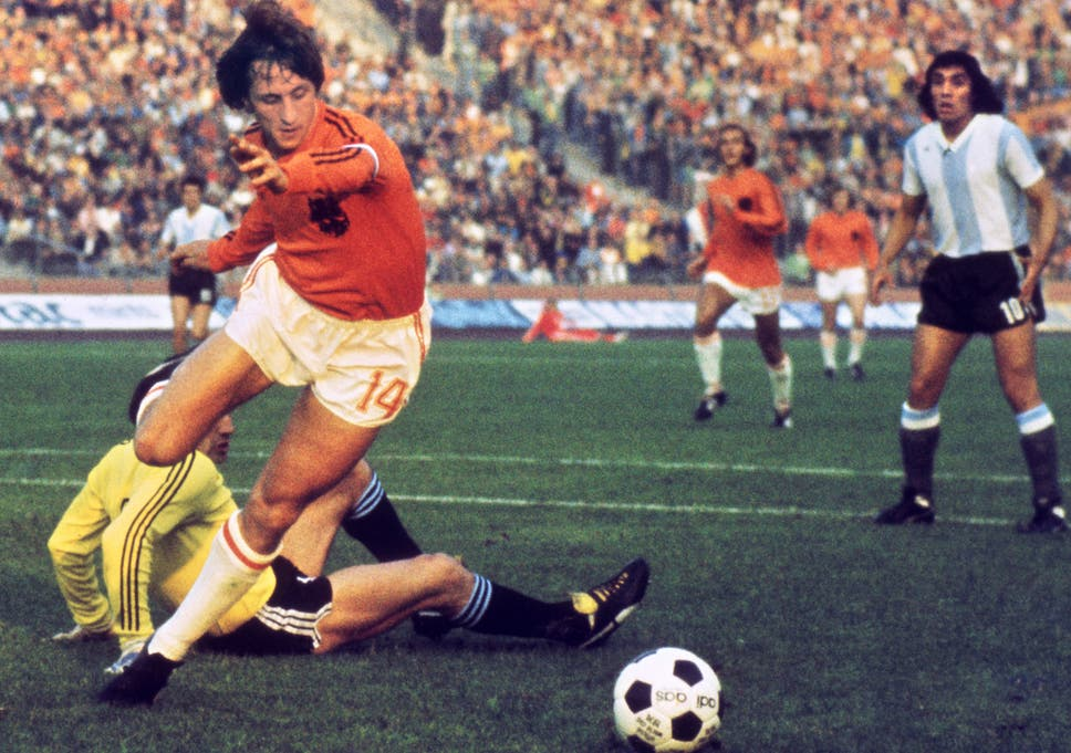 Johan Cruyff in action for the Netherlands during the 1974 World Cup