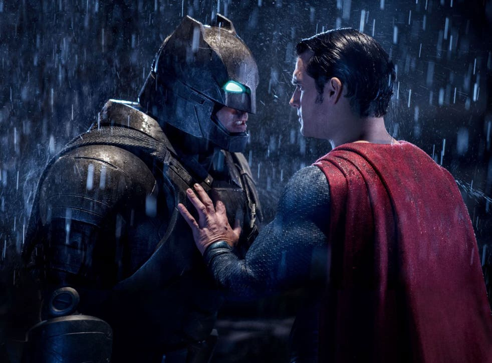 Muscling in: Ben Affleck and Henry Cavill battle for the bragging rights in 'Batman v Superman'