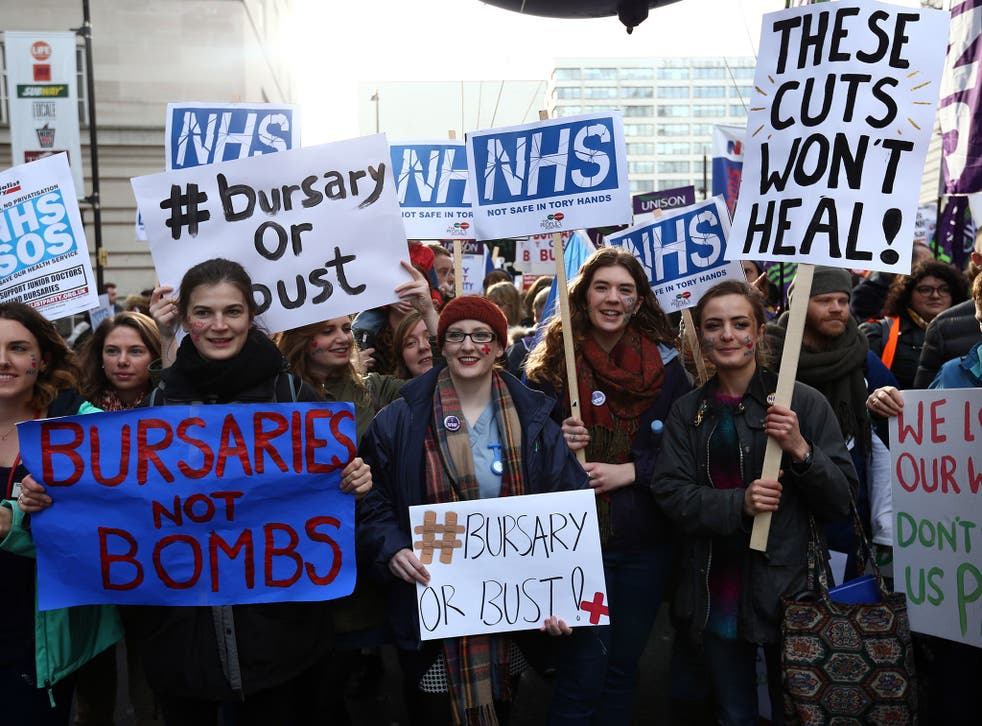 Student nurses and health workers take part in a demonstration against government plans to scrap the NHS bursary, in January