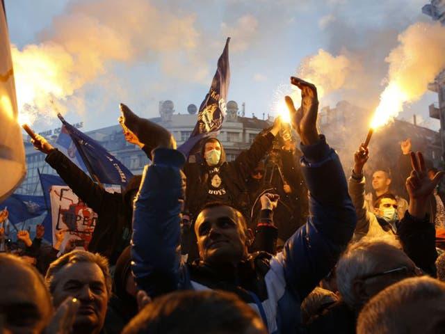 Supporters of the Serbian ultra-nationalist leader Vojislav Seselj at the rally in Belgrade