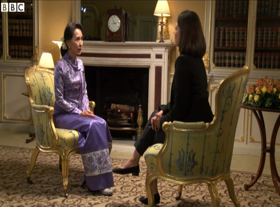 Aung San Suu Kyi during the BBC interview