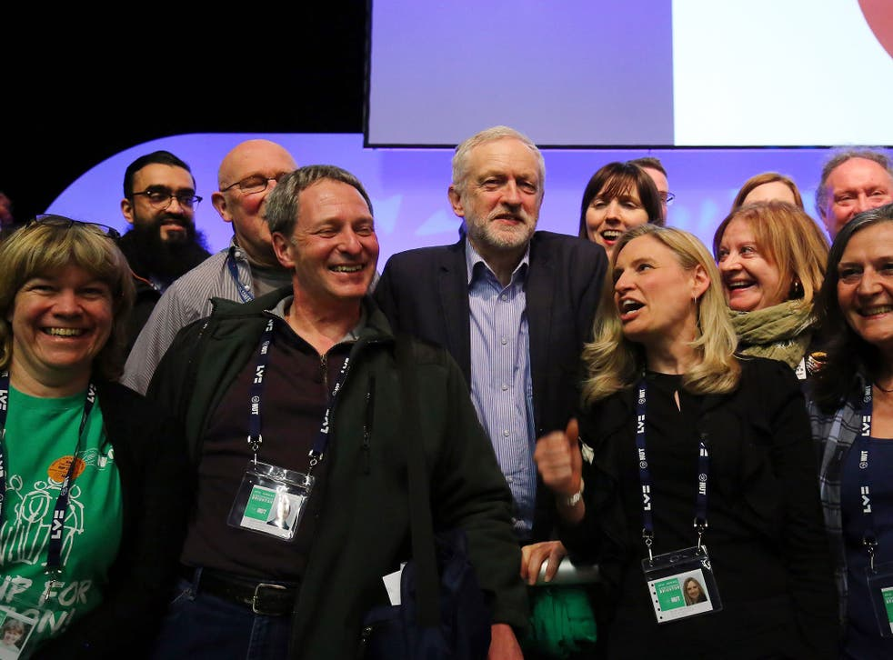 Jeremy Corbyn at the NUT conference in Brighton yesterday