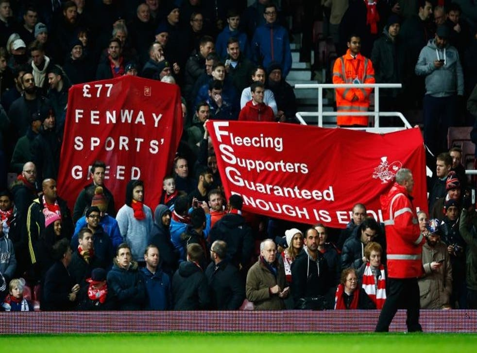 Liverpool fans protesting against ticket price increases earlier this season