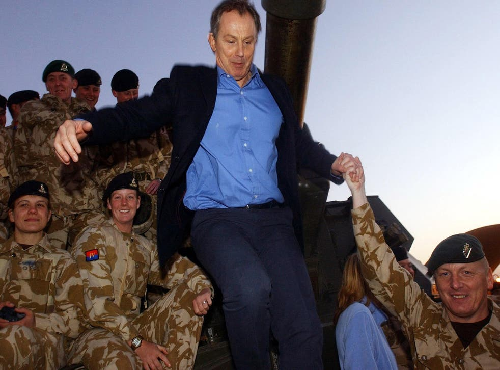 Tony Blair with British soldiers in Basra during the Iraq War