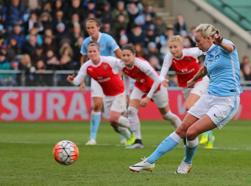 Toni Duggan scores City's second from the penalty spot