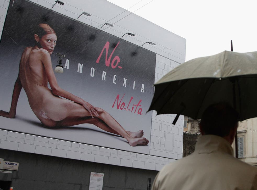This poster campaign by model Isabelle Caro, who suffered from anorexia, was banned in Italy