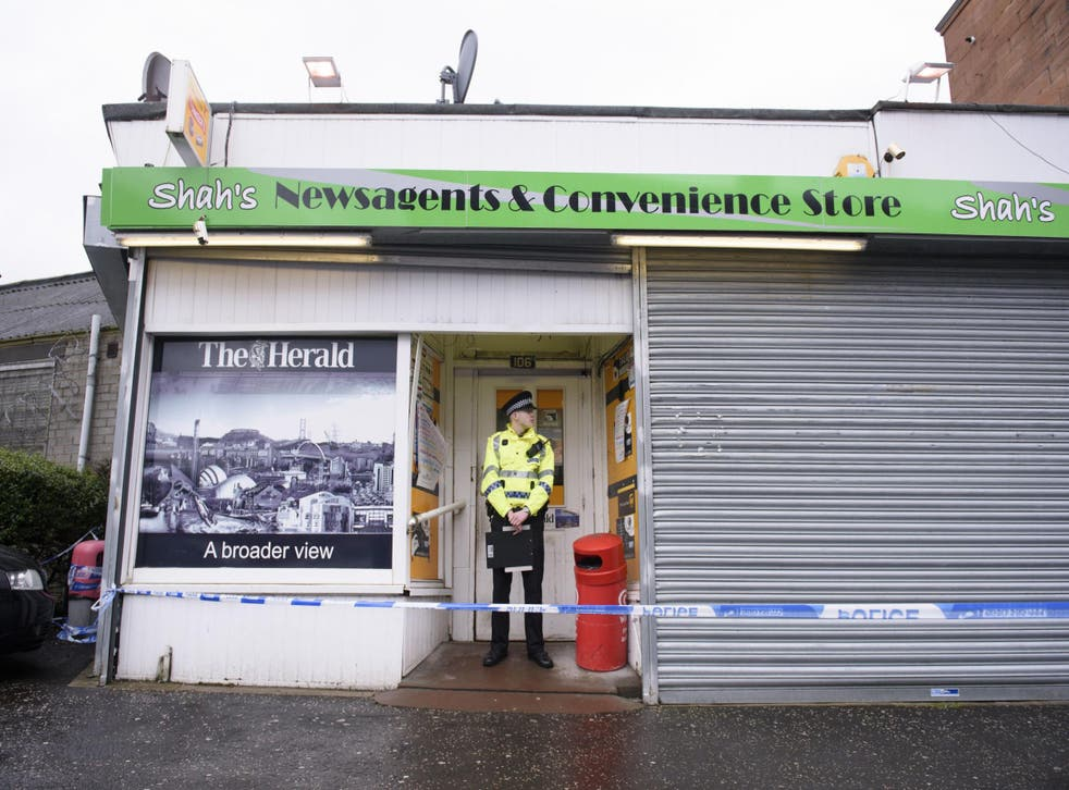 General view of the shop where Asad Shah worked in Shawlands, Glasgow