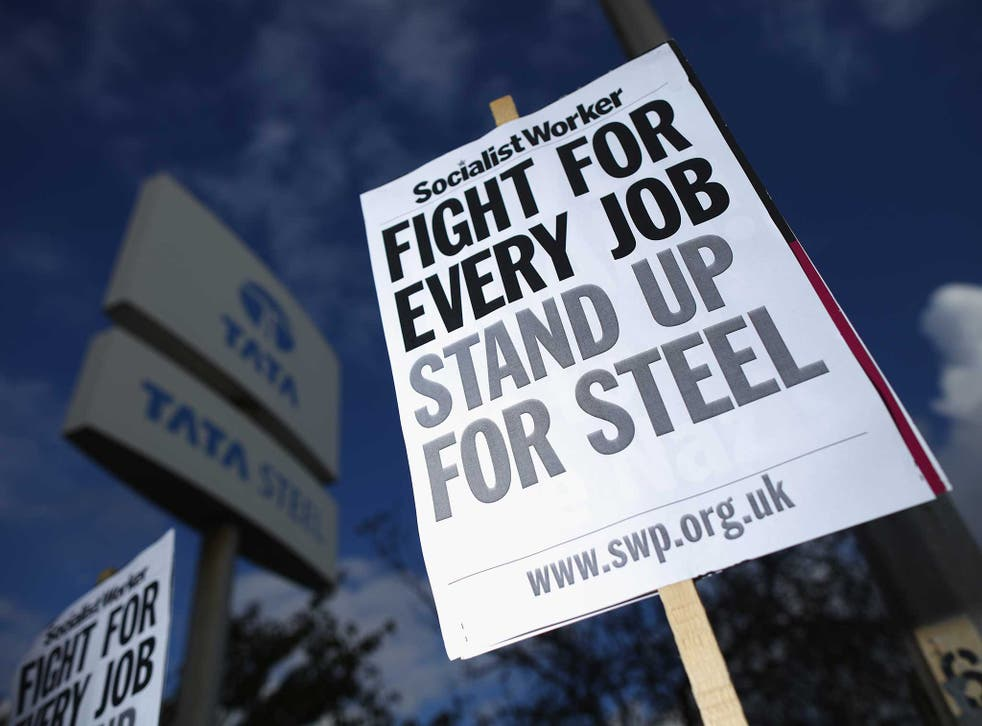 Protesters outside Tata's plant in Scunthorpe